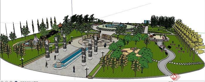 现代风格休闲小广场景观su模型