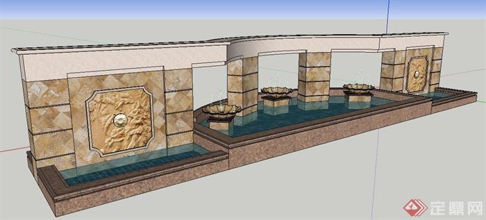 现代风格浮雕景墙及喷泉水景su模型