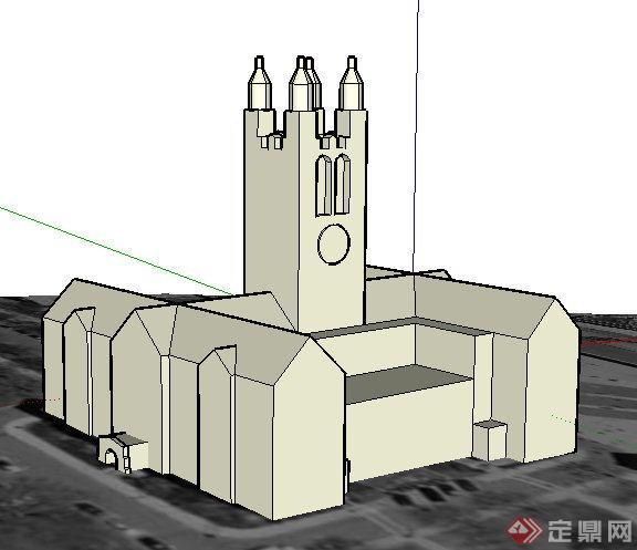 欧式教堂建筑设计su概念模型