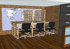 现代风格阅读室室内设计SU(草图大师)模型
