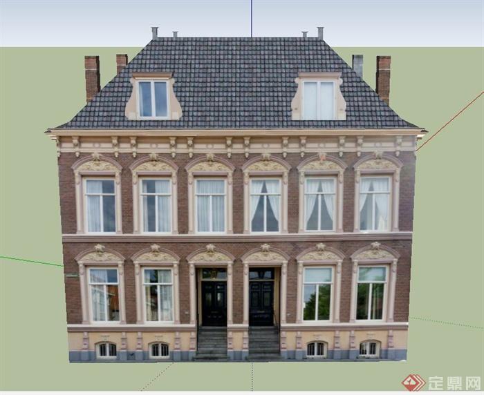 某两层欧式风格阁楼住宅建筑设计su模型