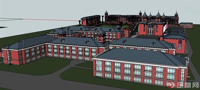 欧式风格教育学校整体建筑设计su模型