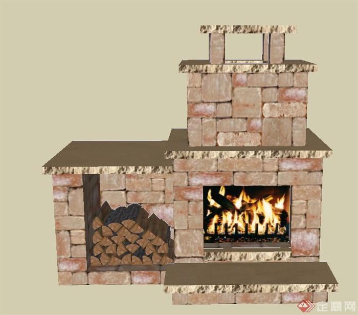 某砖砌室内壁炉设计su模型(1)