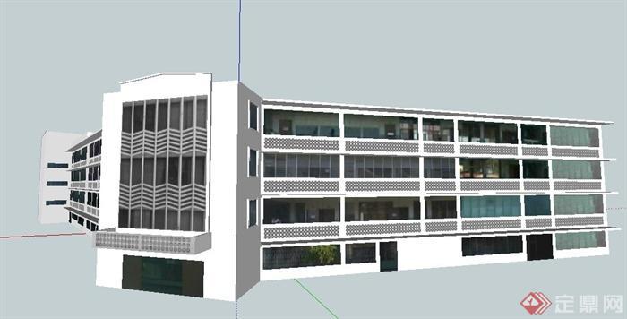 现代简约4层办公楼建筑设计su模型《老年人照料设施建筑设计标准》图片