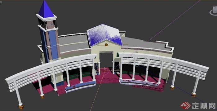 欧式会所建筑设计3dmax模型,建筑造型独特,带有钟楼,廊道设计,模型