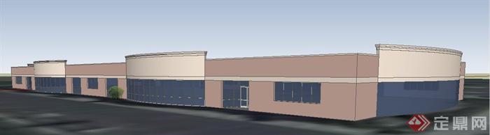 现代风格单层办公楼建筑设计su模型(1)