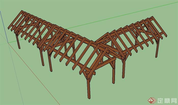 园林木质直角廊架设计su模型