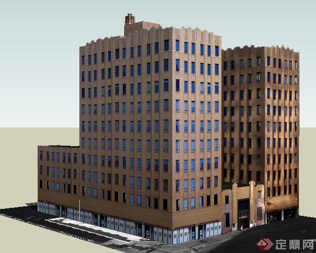 現代風格小高層辦公樓建筑設計su模型(3)