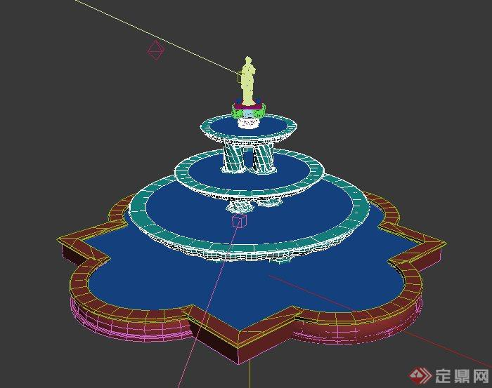 欧式三台雕塑喷泉设计max模型
