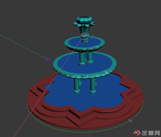 欧式三层跌水景观设计3dmax模型