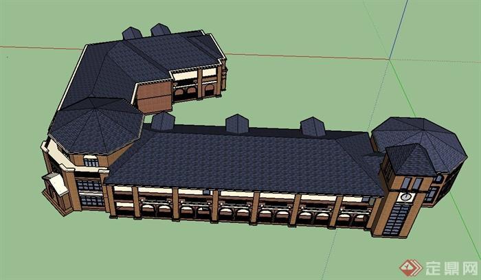 某两层欧式幼儿园建筑设计su模型