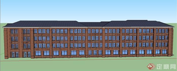 某四层欧式中学教学楼建筑设计SU模型,该建筑楼层为两层,模型制作完整,建筑是四面围合建立,建筑是欧式风格,模型有材质贴图,具有一定的参考价值。