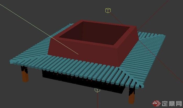 方形树池坐凳设计3dmax模型(2)