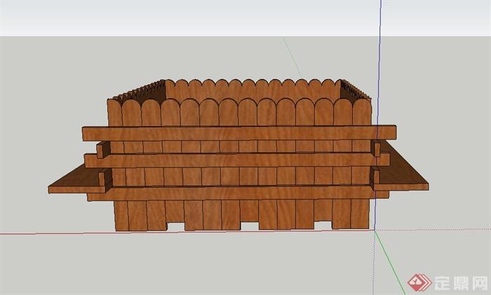 某木质移动带坐凳花箱设计su模型(1)