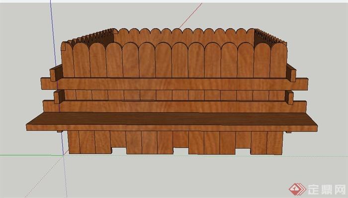 某木质移动带坐凳花箱设计su模型