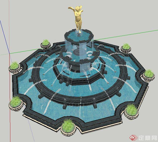 欧式五层雕塑跌水水池su模型