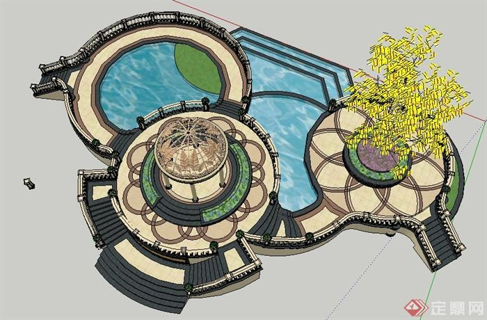 欧式风格观景凉亭及景观水池su模型