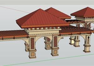 新古典风格廊架凉亭组合SU(草图大师)模型
