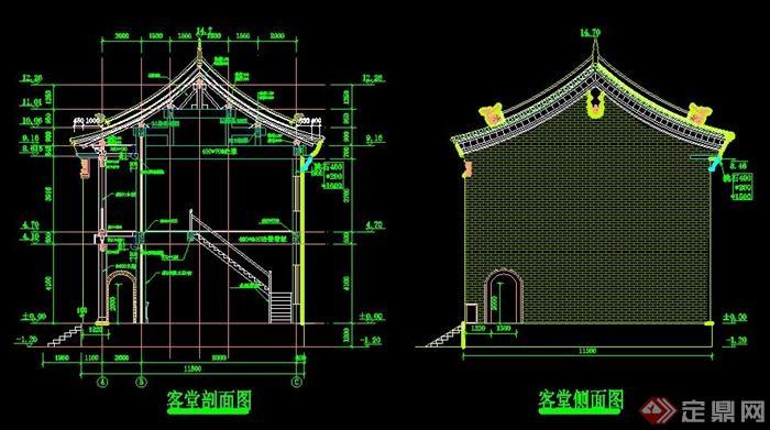 某古建寺院客堂建筑设计方案图