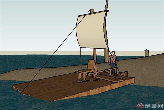 木制小帆船su模型