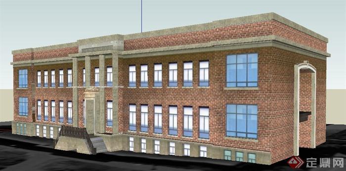 现代三层砖砌办公楼建筑设计su模型