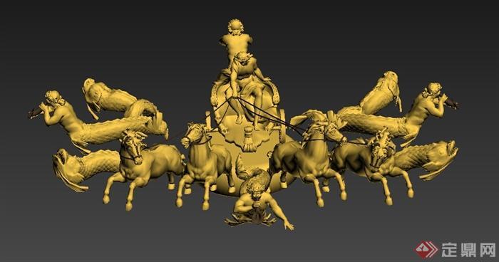 古罗马组合雕塑设计3dmax模型