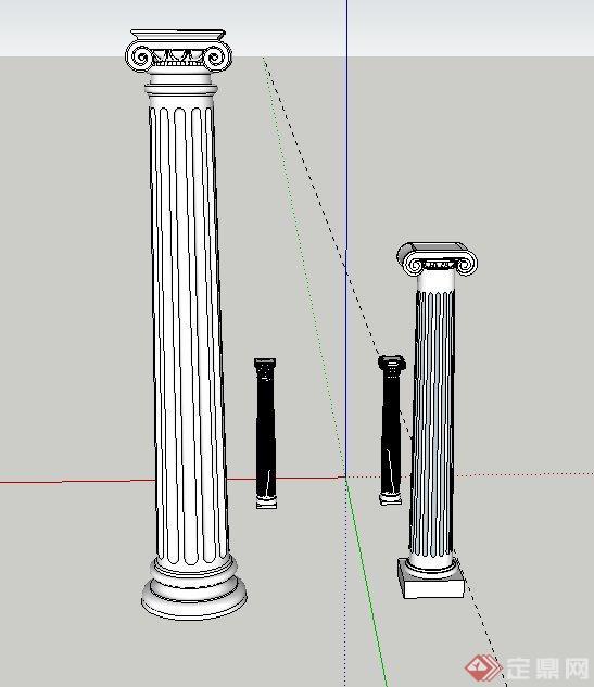 四棵欧式风格罗马柱设计su模型