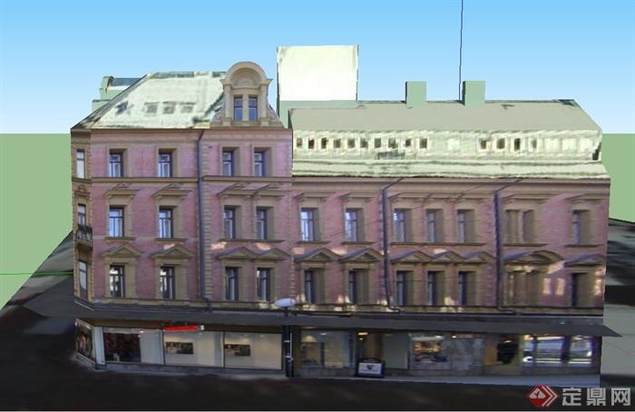 某欧式三层商业街建筑设计su模型