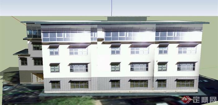 某四层银行办公楼建筑设计SU模型房屋设计图130图片