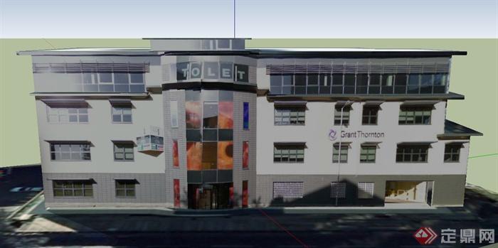 某四层模型办公楼建筑设计SU要素平面设计基本银行包括哪些内容图片