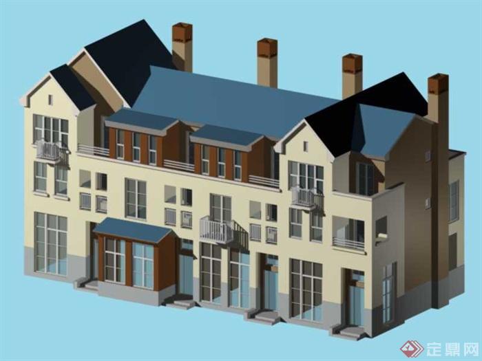 三层别墅建筑设计3DMAX模型