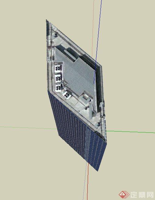 现代某高层菱形办公建筑设计su模型