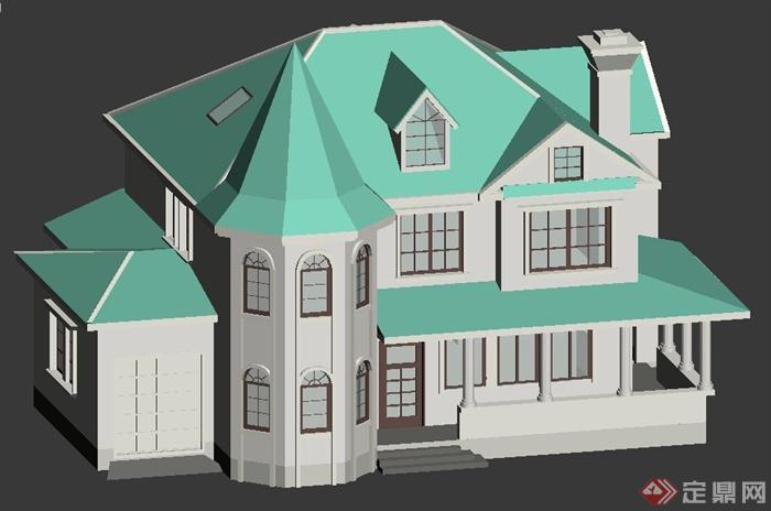 欧式别墅建筑设计3dmax模型