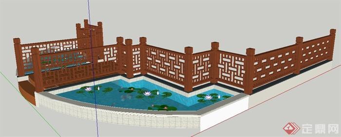 现代中式风格木栏杆及荷花池su模型