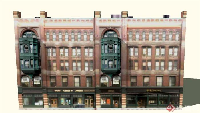 某欧式五层商业街商铺建筑设计su模型
