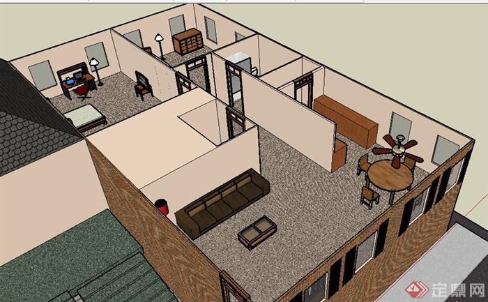 现代风格民房建筑及室内设计su模型