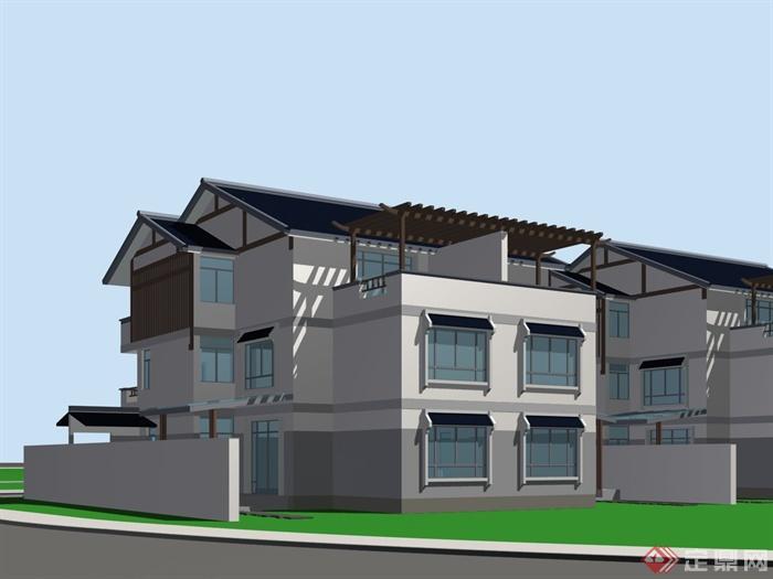 现代中式别墅建筑设计max模型图片