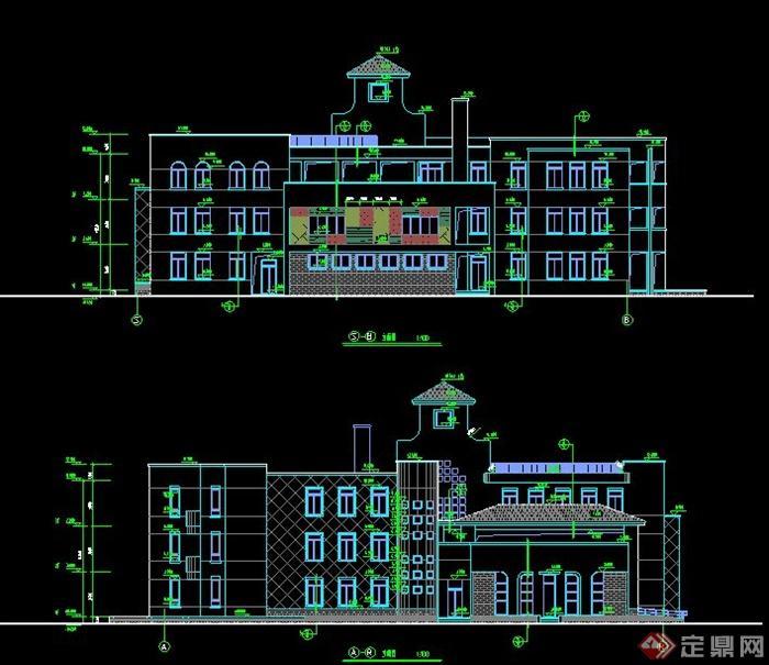 某欧式风格三层幼儿园建筑施工设计cad图