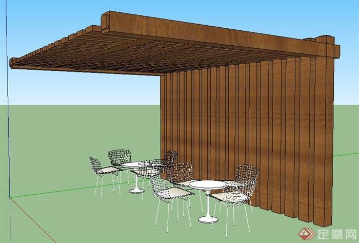 现代风格单柱廊架及桌椅su模型