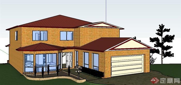 现代风格二层别墅建筑设计su模型