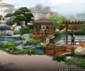 公园景观,廊架,园桥,亭子,道路,瀑布,假山,水景,植物,花卉,地面铺装