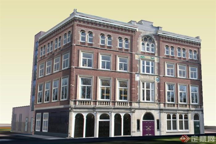 欧式四层办公楼建筑设计su模型