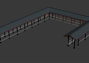 中式U形长廊设计3DMAX模型