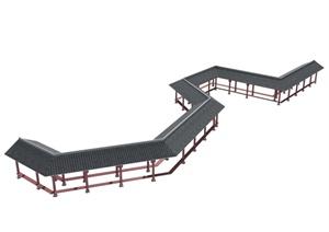 中式曲形长廊设计MAX模型