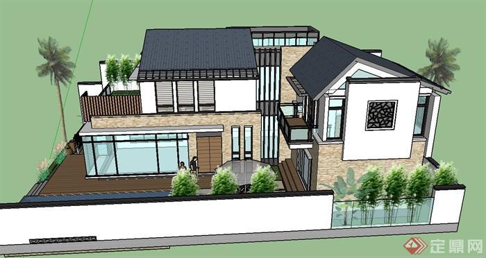 某两层现代中式别墅建筑设计su模型(1)
