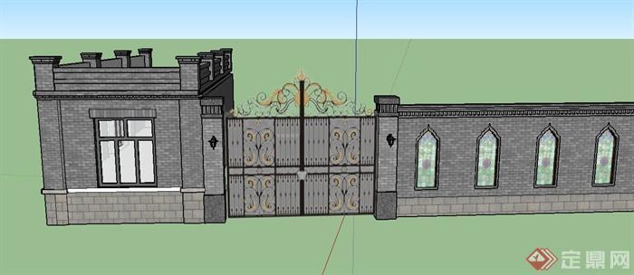 某欧式门卫室,大门,围墙等设计su模型