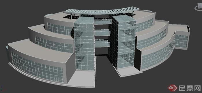 阶梯形教学楼建筑设计3dmax模型(1)