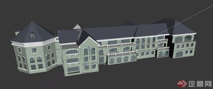 欧式幼儿园教学建筑设计max模型