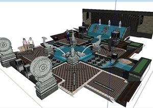 中式风格喷泉叠水水景组合su模型,包括灯柱,雕塑,景墙图片