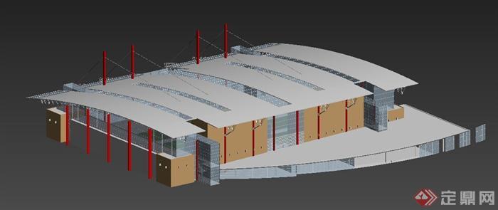 现代特色体育馆建筑设计max模型